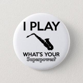 funny saxophone designs 6 cm round badge