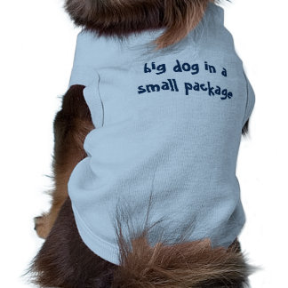 """Funny Saying """"big dog in a small package"""" Sleeveless Dog Shirt"""