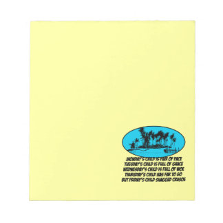 Funny sayings note pad