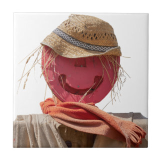 funny scarecrow in the farm ceramic tile