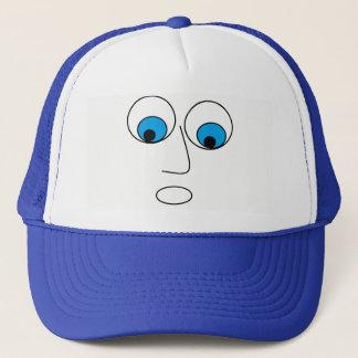 Funny Scared Cartoon Man's Face Design Blue Hat