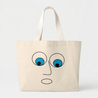 Funny Scared Cartoon Man's Face Design Large Tote Bag
