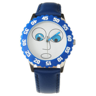 Funny Scared Man's Face Print Blue and White Watch