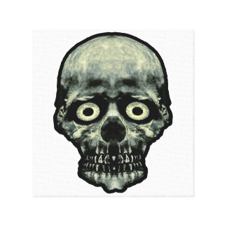 Funny Scared Skull Artwork Canvas Print