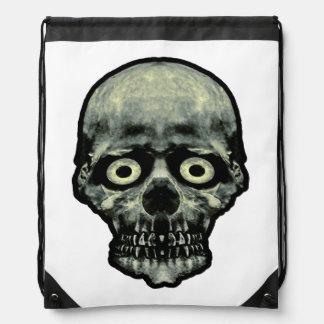 Funny Scared Skull Artwork Drawstring Bag