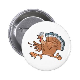 funny scared turkey 6 cm round badge