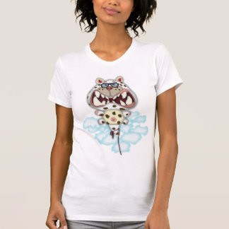 Funny Scared White Cat Balloon With Glasses Shirts