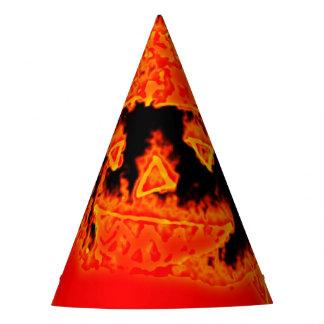 Funny Scary Orange Fire Flames Halloween Pumpkin Party Hat