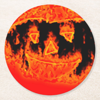 Funny Scary Orange Flames Halloween Pumpkin Face Round Paper Coaster