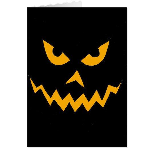 Funny Scary Pumpkin Face Cartoon for Halloween Card