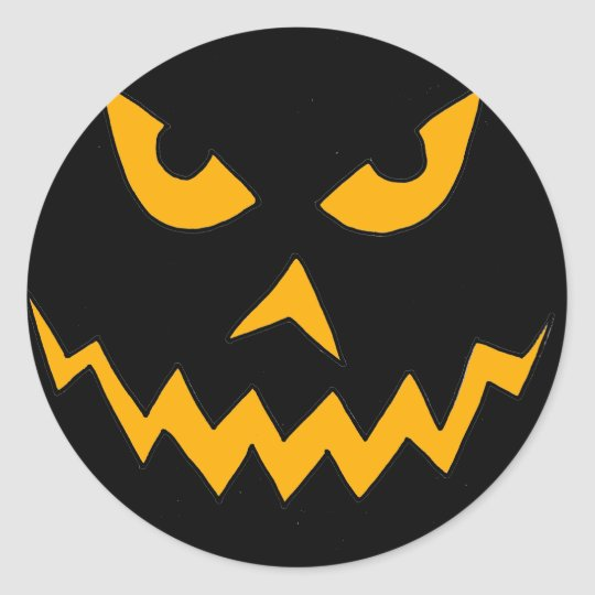 Funny Scary Pumpkin Face Cartoon for Halloween Classic Round Sticker
