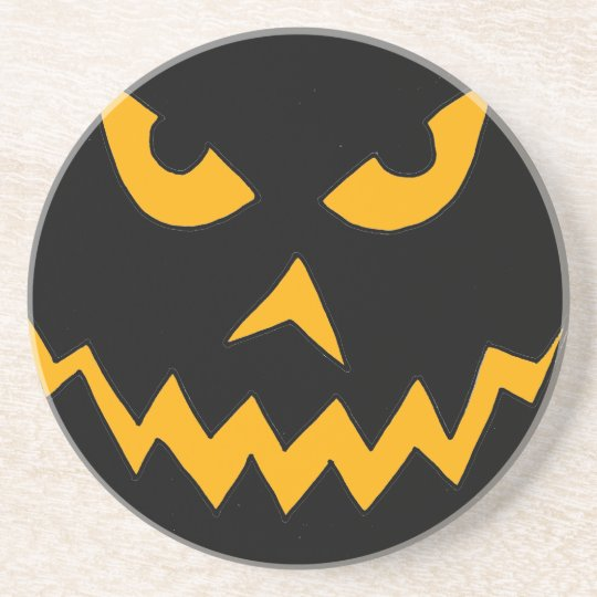 Funny Scary Pumpkin Face Cartoon for Halloween Coaster