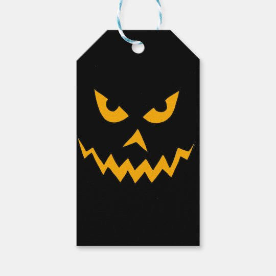 Funny Scary Pumpkin Face Cartoon for Halloween Gift Tags