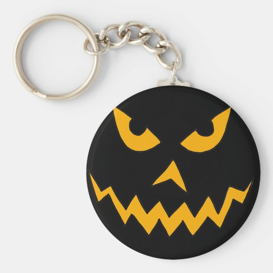 Funny Scary Pumpkin Face Cartoon for Halloween Key Ring