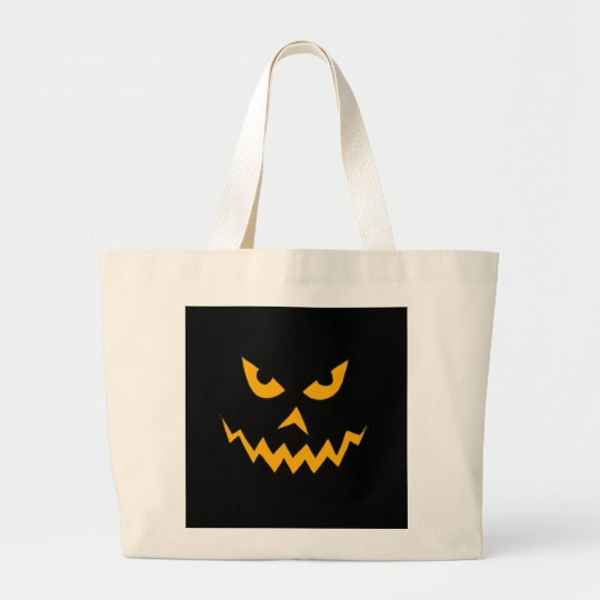 Funny Scary Pumpkin Face Cartoon for Halloween Large Tote Bag