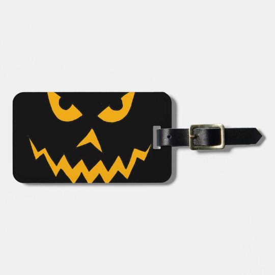Funny Scary Pumpkin Face Cartoon for Halloween Luggage Tag