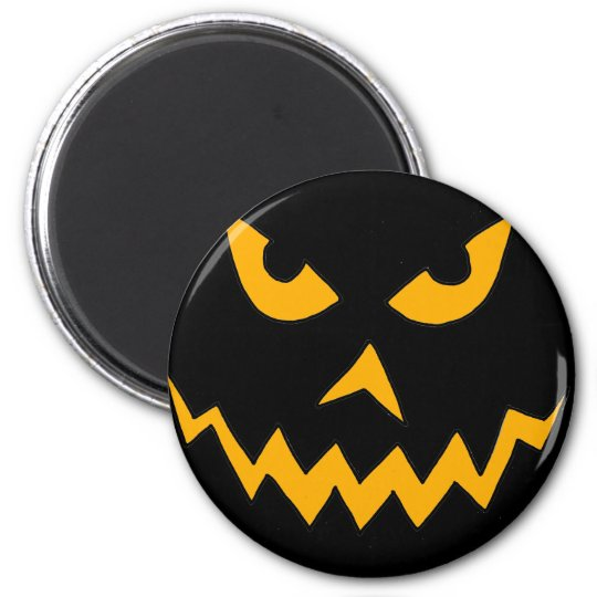 Funny Scary Pumpkin Face Cartoon for Halloween Magnet