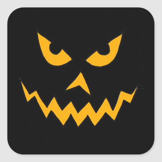 Funny Scary Pumpkin Face Cartoon for Halloween Square Sticker