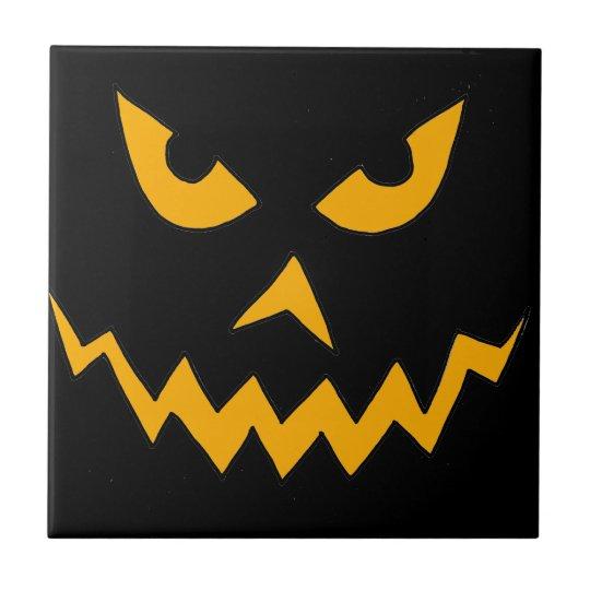 Funny Scary Pumpkin Face Cartoon for Halloween Tile