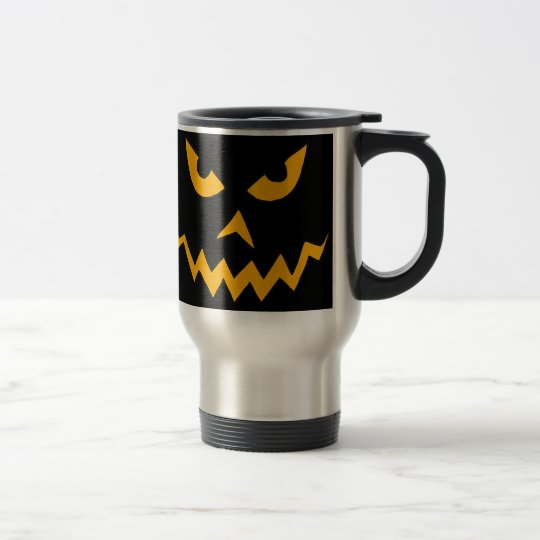 Funny Scary Pumpkin Face Cartoon for Halloween Travel Mug