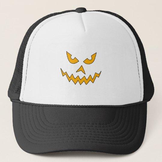 Funny Scary Pumpkin Face Cartoon for Halloween Trucker Hat