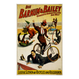 Funny Scenes of Bicycles and Roller Skates Poster