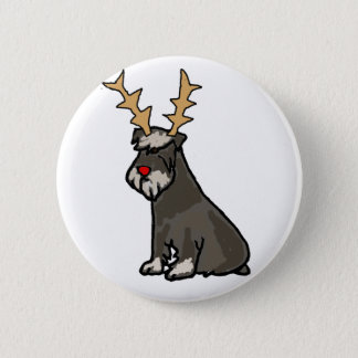 Funny Schnauzer with Reindeer Antlers Christmas 6 Cm Round Badge