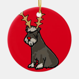 Funny Schnauzer with Reindeer Antlers Christmas Ceramic Ornament