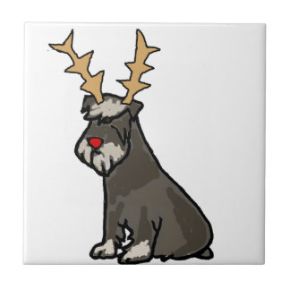 Funny Schnauzer with Reindeer Antlers Christmas Ceramic Tile