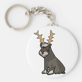 Funny Schnauzer with Reindeer Antlers Christmas Key Ring