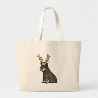 Funny Schnauzer with Reindeer Antlers Christmas Large Tote Bag