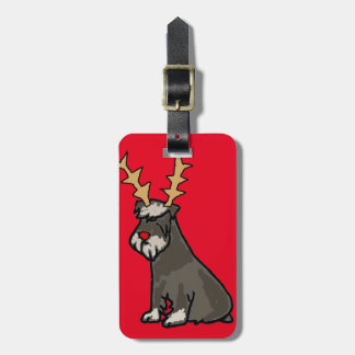 Funny Schnauzer with Reindeer Antlers Christmas Luggage Tag
