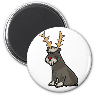 Funny Schnauzer with Reindeer Antlers Christmas Magnet