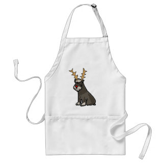 Funny Schnauzer with Reindeer Antlers Christmas Standard Apron
