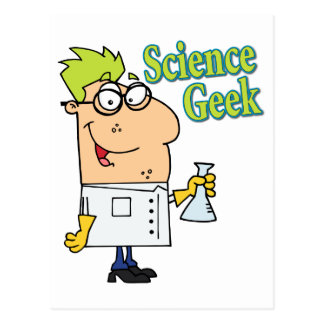 funny science geek cartoon character postcard