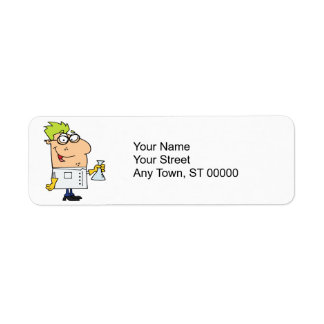 funny science nerd cartoon character return address label