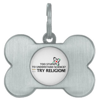 Funny Science VS Religion Pet ID Tags