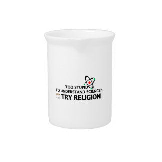 Funny Science VS Religion Beverage Pitcher