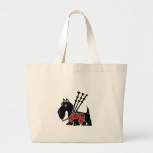 Funny Scottish Terrier puppy dog Playing Bagpipes Large Tote Bag 5a632bf74c643