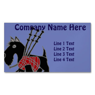 Funny Scotty Dog with Bagpipes Magnetic Business Card