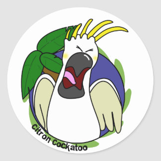 Funny Screaming Citron Cockatoo Round Sticker