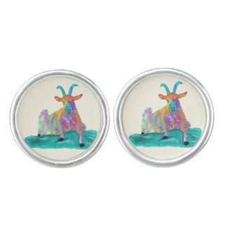 Funny Screaming Goat Animal Art Painting Design Cufflinks