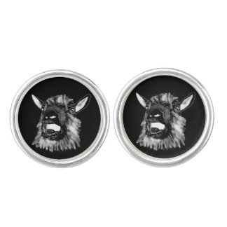 Funny Screaming Goat Line Drawing Animal Art Cuff Links