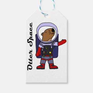 Funny Sea Otter Astronaut in Space Suit Cartoon Gift Tags