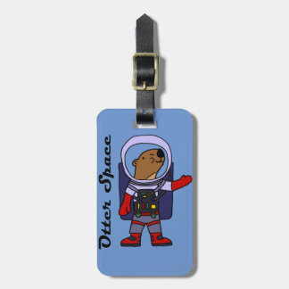 Funny Sea Otter Astronaut in Space Suit Cartoon Luggage Tag