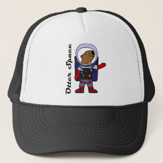 Funny Sea Otter Astronaut in Space Suit Cartoon Trucker Hat