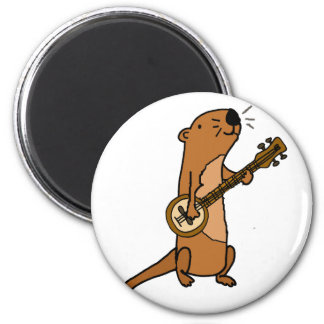 Funny Sea Otter Playing Banjo Magnet