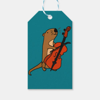 Funny Sea Otter Playing Cello Cartoon Gift Tags