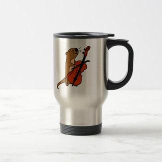 Funny Sea Otter Playing Cello Cartoon Travel Mug