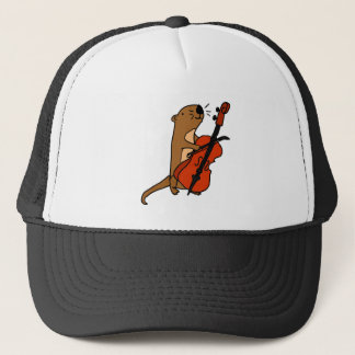 Funny Sea Otter Playing Cello Cartoon Trucker Hat